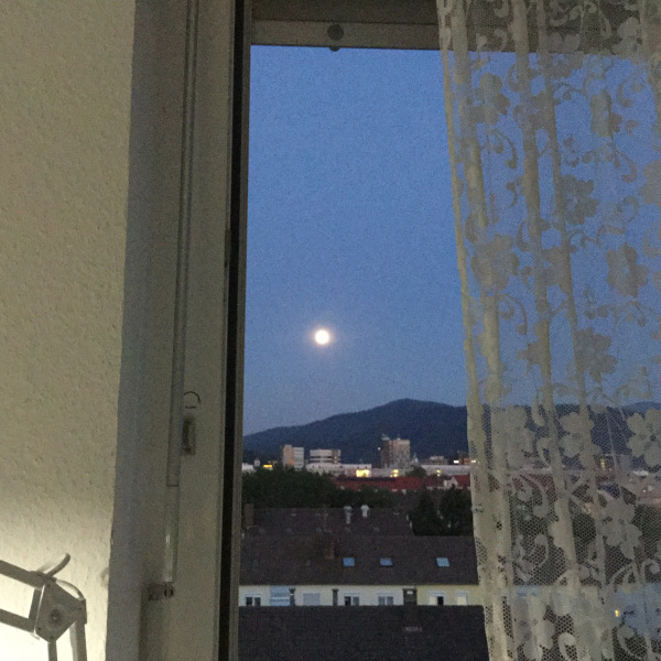 lace curtain at window with a full moon