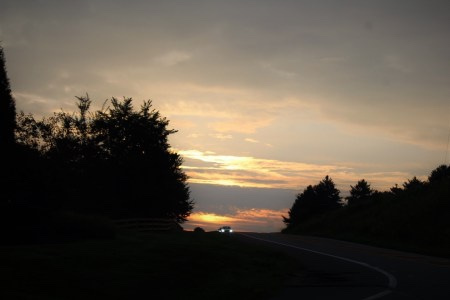 dusk-car-headlights-in-the-distance-on-a-tree-lined-two-lane-road