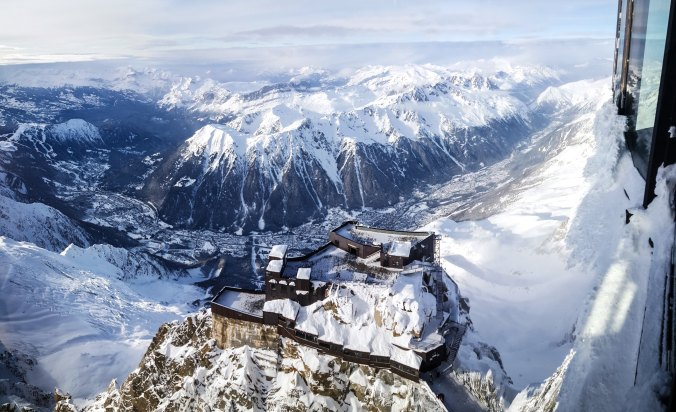 A view from Aiguille du Midi on French Alps