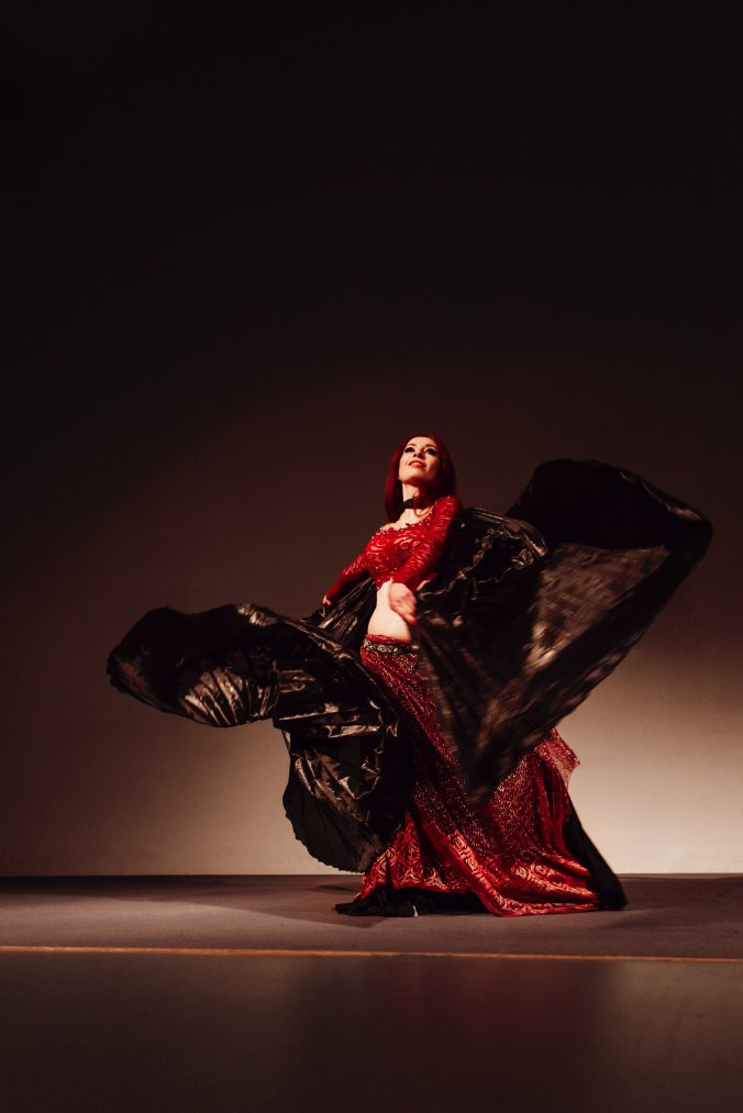 Flamenco dancer in red and black