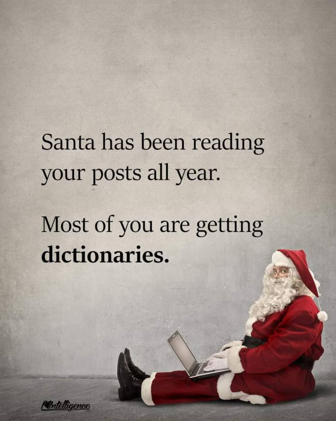 Santa has been reading your posts all year. Most of you are getting dictionaries.