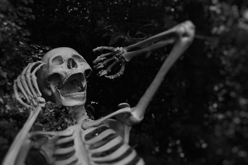 gray and white photo of skeleton screaming